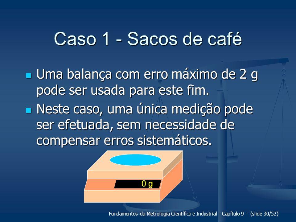 Caso 1 - Sacos de café Uma balança com erro máximo de 2 g pode ser usada para este fim.