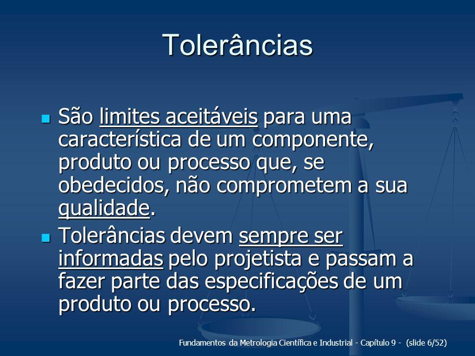 Tolerâncias São limites aceitáveis para uma característica de um componente, produto ou processo que, se obedecidos, não comprometem a sua qualidade.