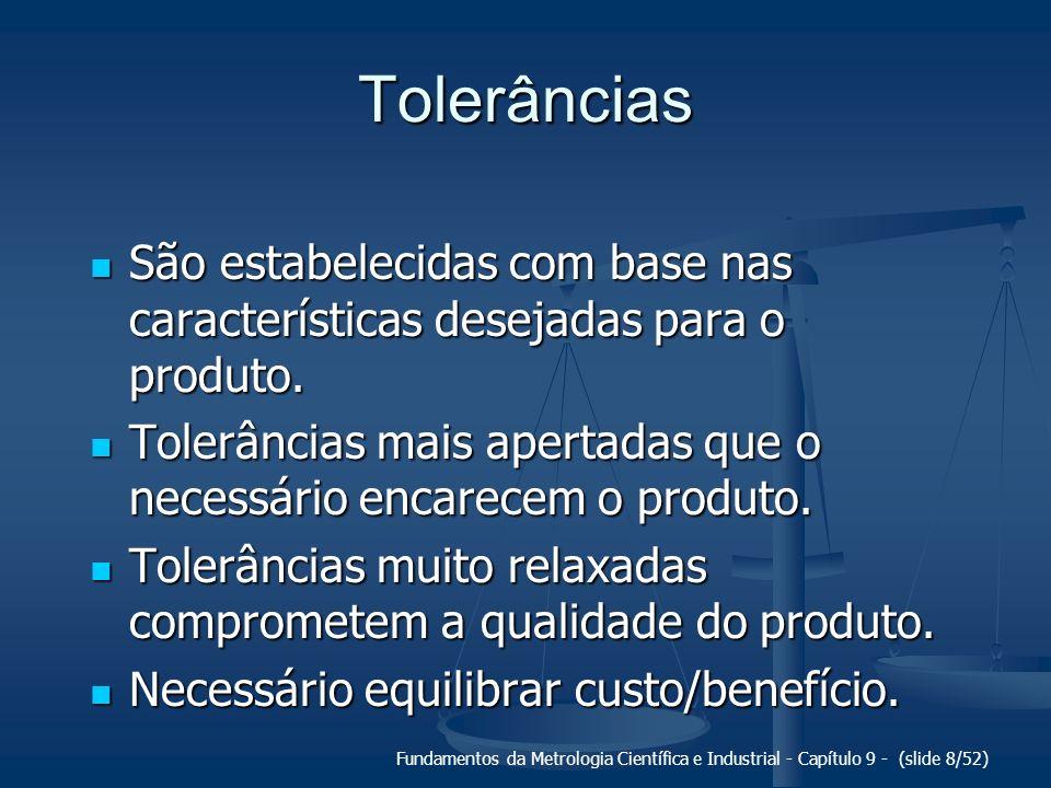 Tolerâncias São estabelecidas com base nas características desejadas para o produto.