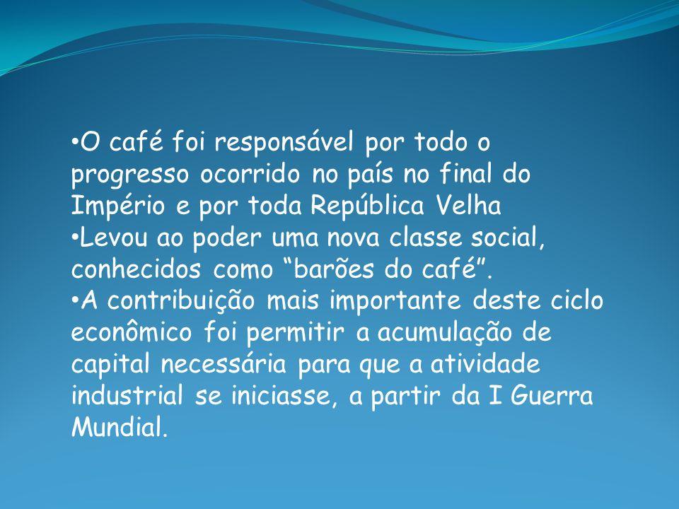 O café foi responsável por todo o progresso ocorrido no país no final do Império e por toda República Velha