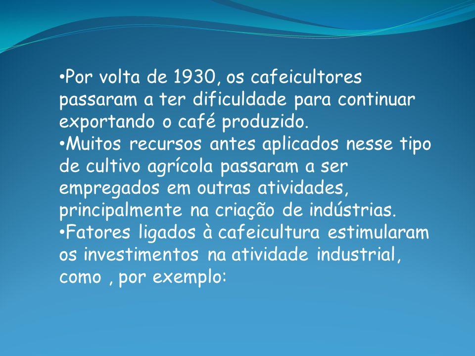 Por volta de 1930, os cafeicultores passaram a ter dificuldade para continuar exportando o café produzido.
