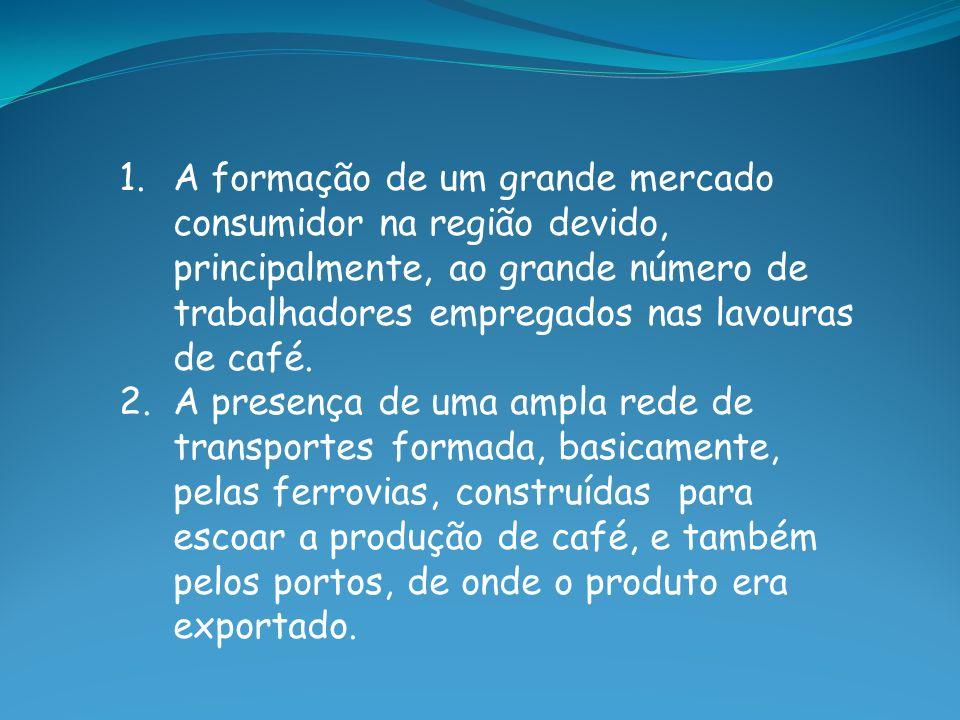 A formação de um grande mercado consumidor na região devido, principalmente, ao grande número de trabalhadores empregados nas lavouras de café.