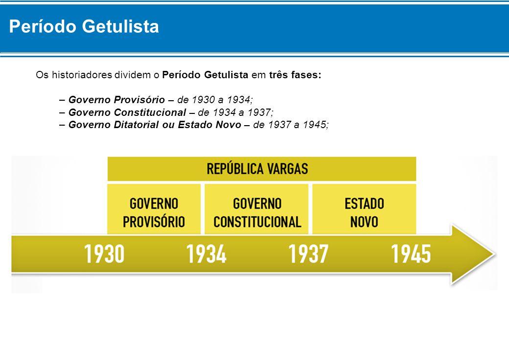 Período Getulista Os historiadores dividem o Período Getulista em três fases: – Governo Provisório – de 1930 a 1934;