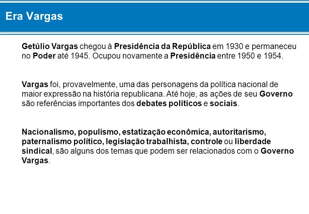 Era Vargas Getúlio Vargas chegou à Presidência da República em 1930 e permaneceu no Poder até 1945. Ocupou novamente a Presidência entre 1950 e 1954.