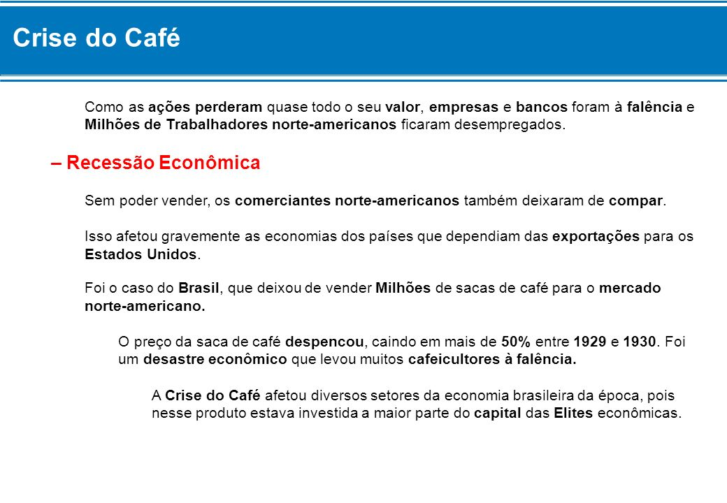 Crise do Café – Recessão Econômica