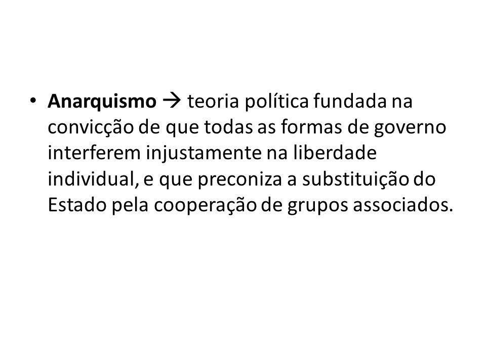 Anarquismo  teoria política fundada na convicção de que todas as formas de governo interferem injustamente na liberdade individual, e que preconiza a substituição do Estado pela cooperação de grupos associados.
