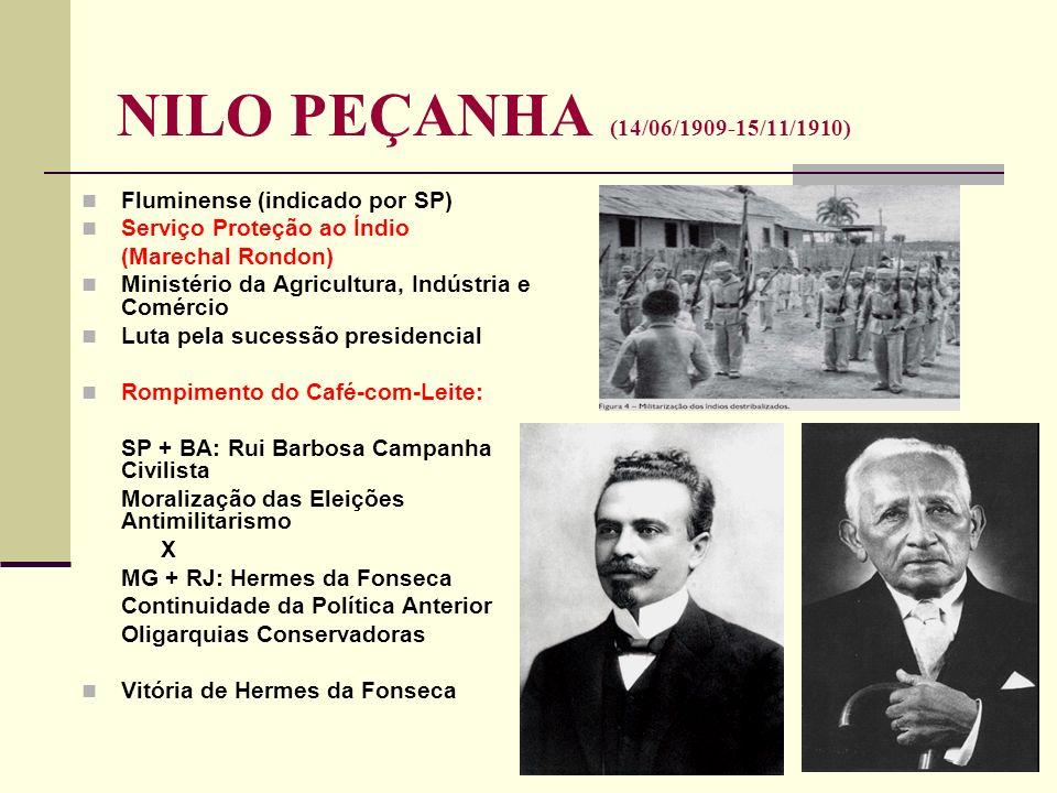 NILO PEÇANHA (14/06/1909-15/11/1910) Fluminense (indicado por SP)