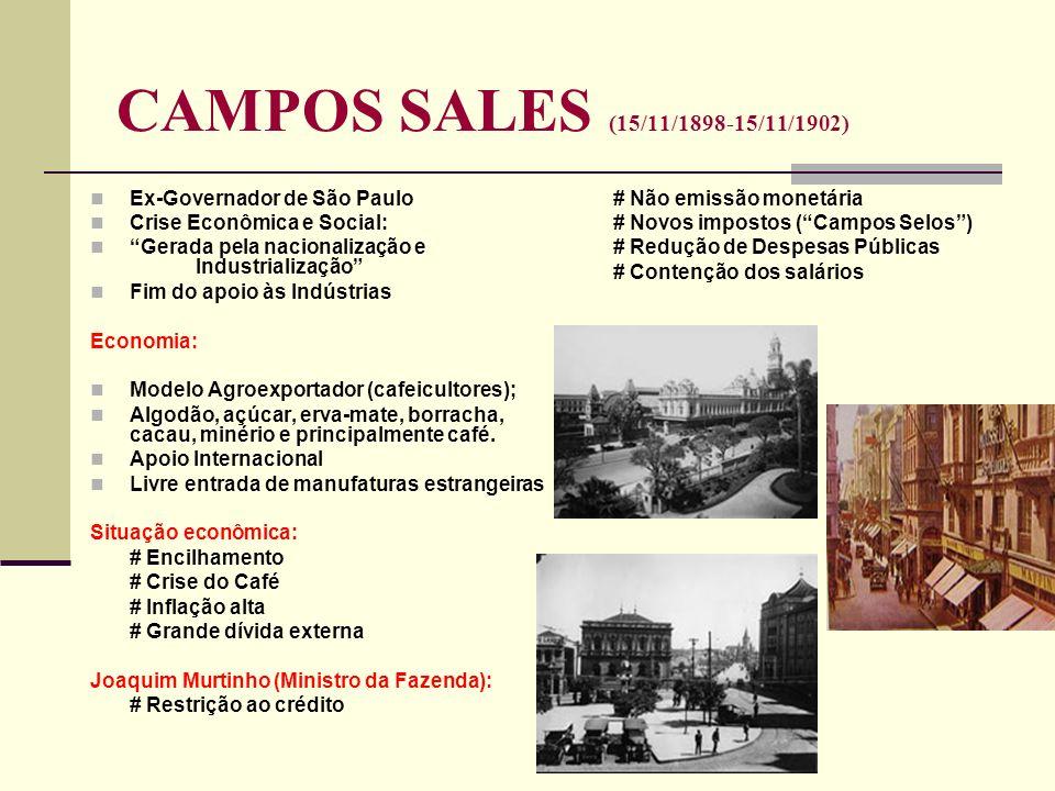 CAMPOS SALES (15/11/1898-15/11/1902) Ex-Governador de São Paulo