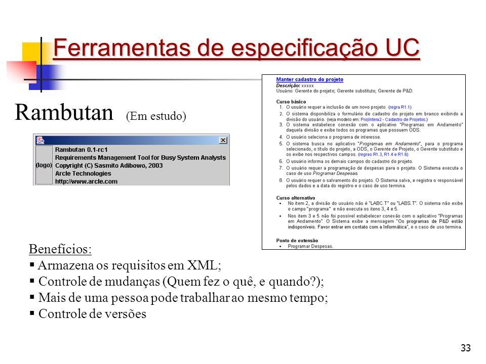 Ferramentas de especificação UC