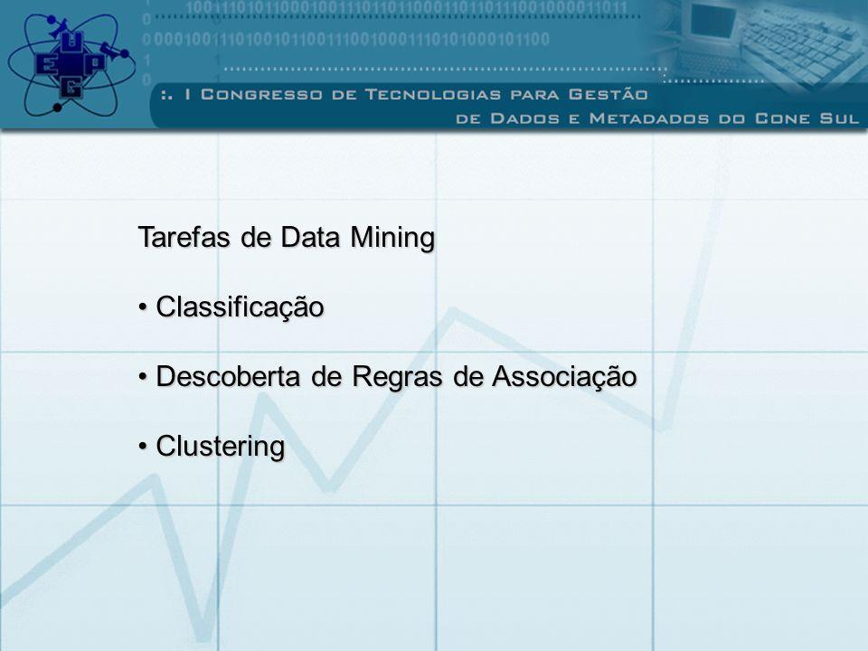 Tarefas de Data Mining Classificação Descoberta de Regras de Associação Clustering