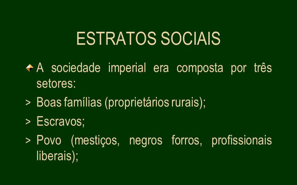 ESTRATOS SOCIAIS A sociedade imperial era composta por três setores: