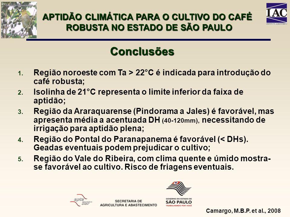 APTIDÃO CLIMÁTICA PARA O CULTIVO DO CAFÉ ROBUSTA NO ESTADO DE SÃO PAULO