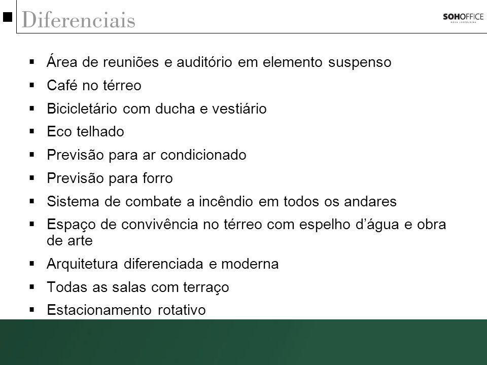 Diferenciais Área de reuniões e auditório em elemento suspenso