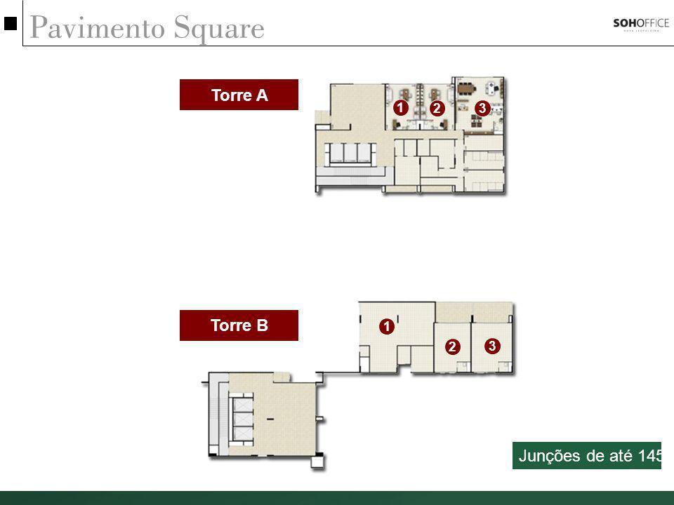 Pavimento Square Torre A 1 2 3 Torre B 1 2 3 Junções de até 145m²