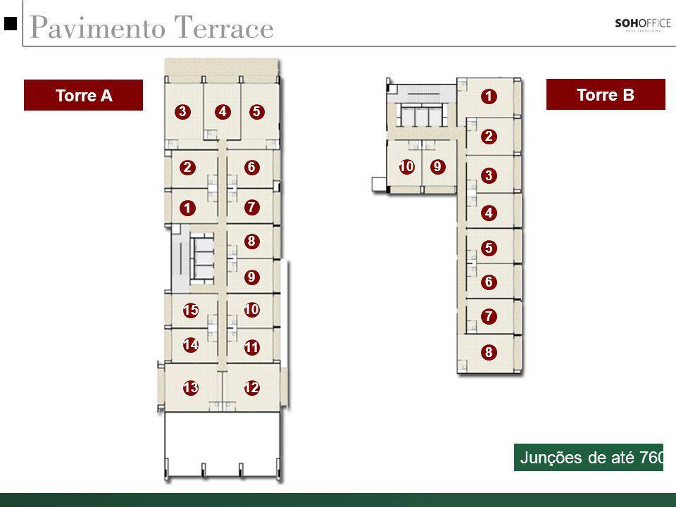 Pavimento Terrace Torre A Torre B Junções de até 760m² 1 3 4 5 2 2 6