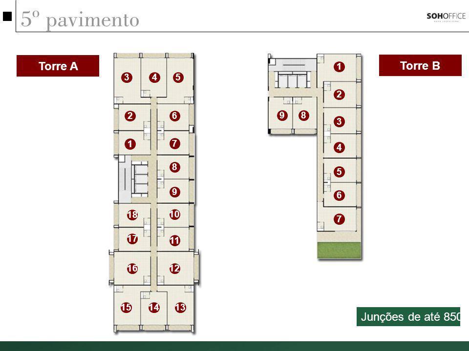 5º pavimento Torre A Torre B Junções de até 850m² 1 3 4 5 2 2 6 9 8 3