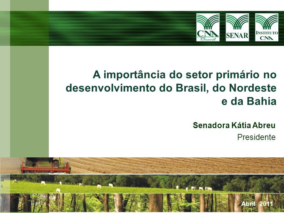 A importância do setor primário no desenvolvimento do Brasil, do Nordeste e da Bahia