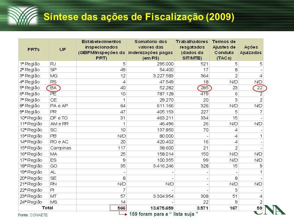 Síntese das ações de Fiscalização (2009)