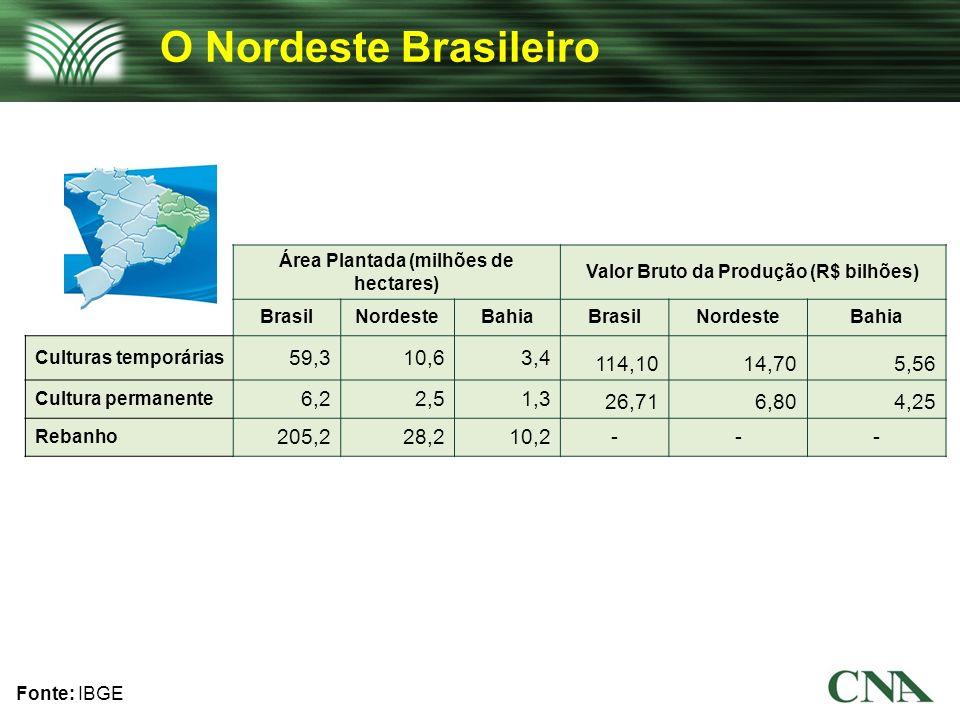 O Nordeste Brasileiro Área Plantada (milhões de hectares) Valor Bruto da Produção (R$ bilhões) Brasil.