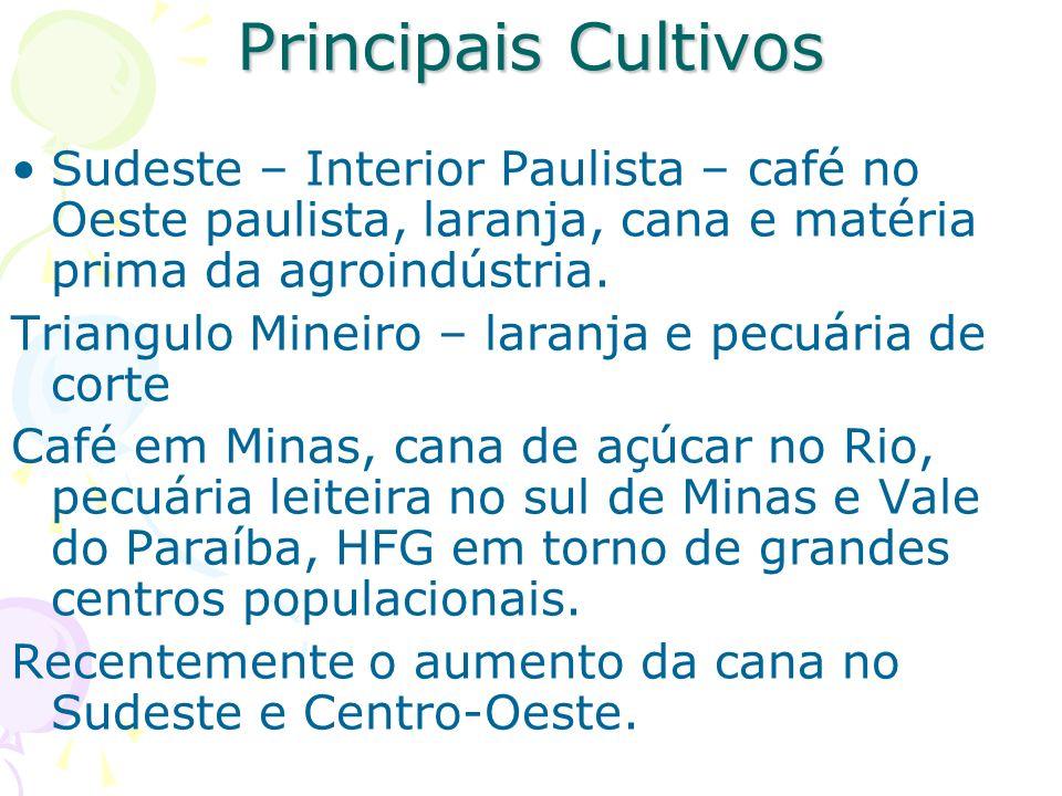 Principais Cultivos Sudeste – Interior Paulista – café no Oeste paulista, laranja, cana e matéria prima da agroindústria.