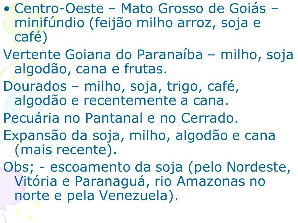 Centro-Oeste – Mato Grosso de Goiás – minifúndio (feijão milho arroz, soja e café)
