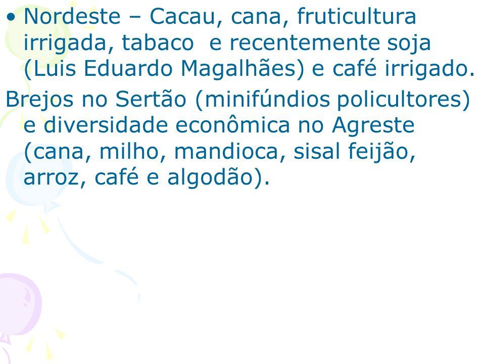 Nordeste – Cacau, cana, fruticultura irrigada, tabaco e recentemente soja (Luis Eduardo Magalhães) e café irrigado.