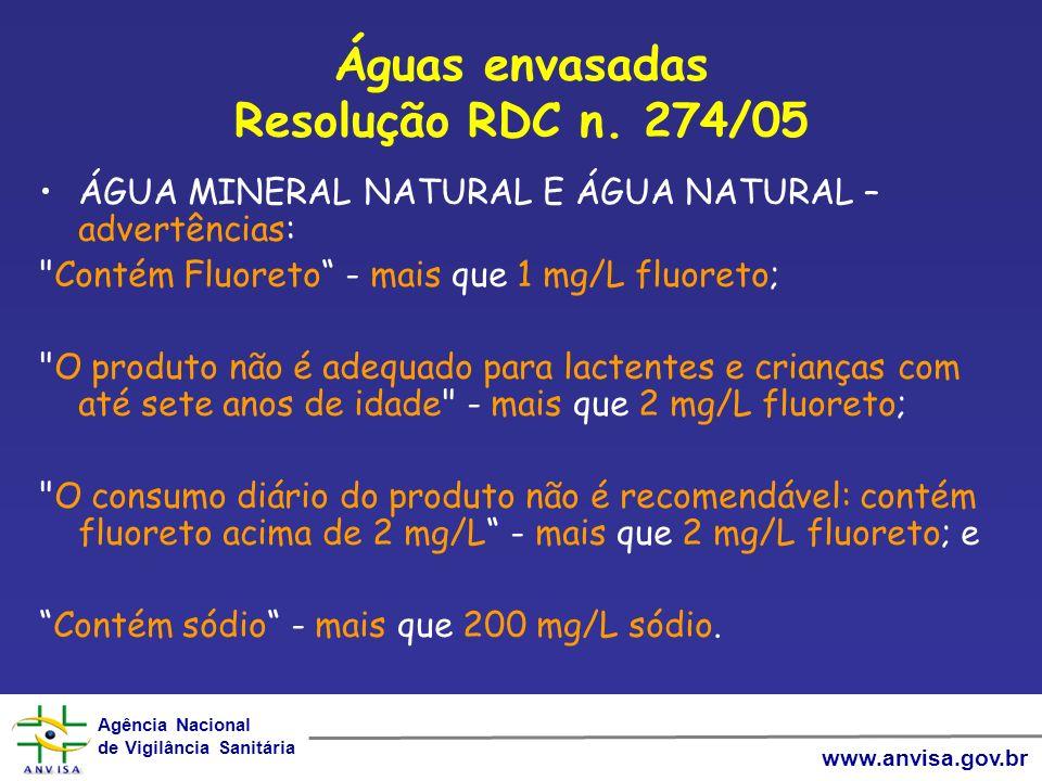 Águas envasadas Resolução RDC n. 274/05