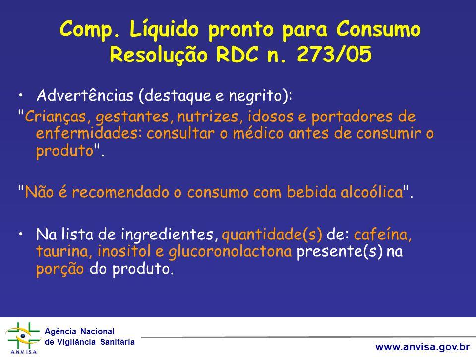 Comp. Líquido pronto para Consumo Resolução RDC n. 273/05