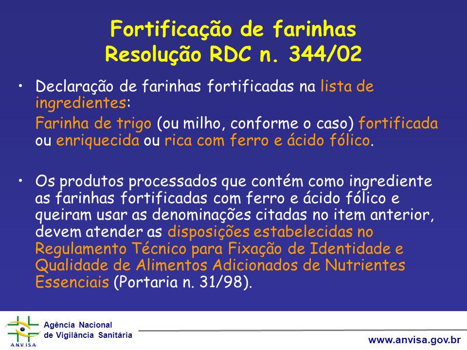 Fortificação de farinhas Resolução RDC n. 344/02