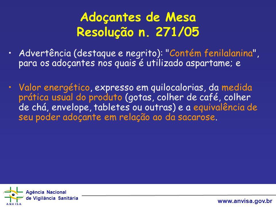 Adoçantes de Mesa Resolução n. 271/05