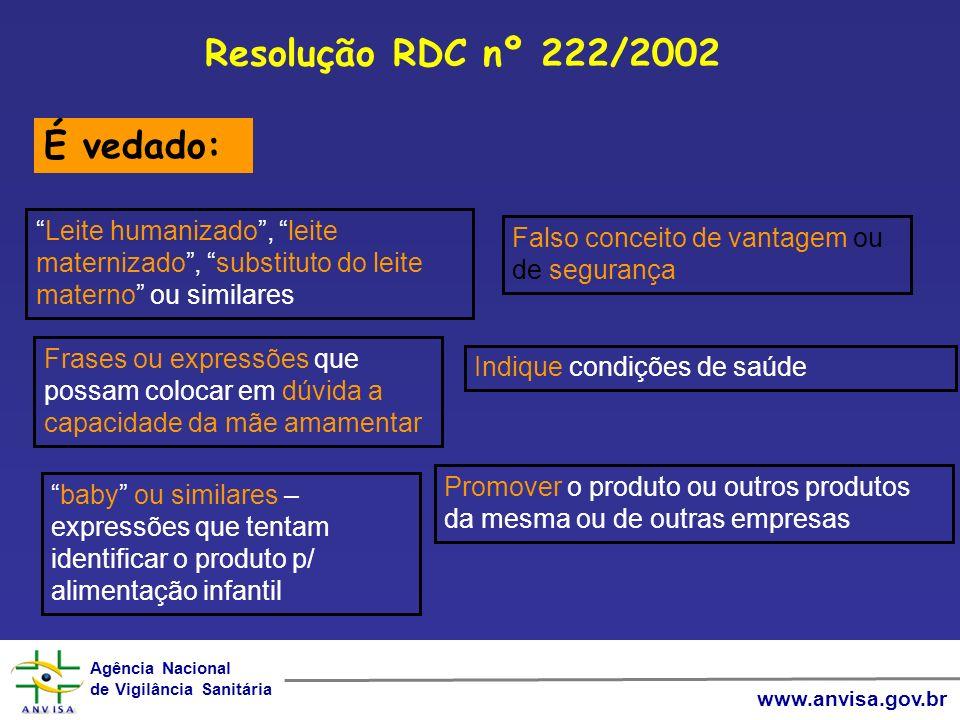 Resolução RDC nº 222/2002 É vedado: