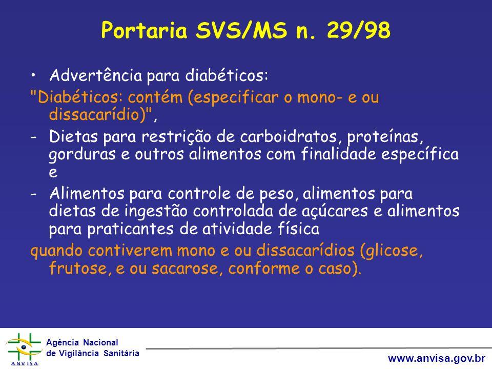 Portaria SVS/MS n. 29/98 Advertência para diabéticos: