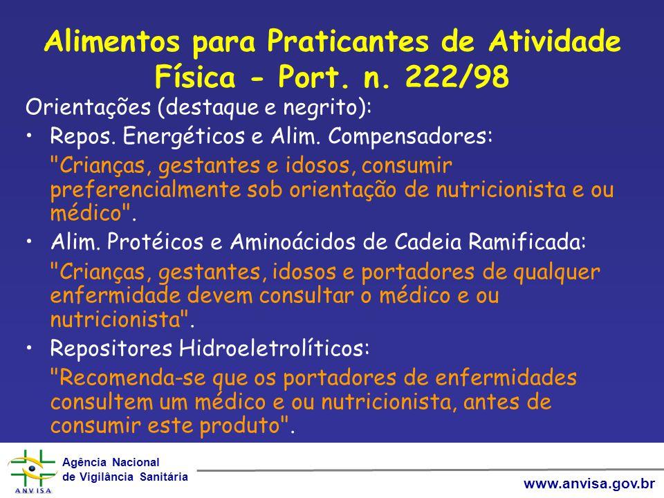 Alimentos para Praticantes de Atividade Física - Port. n. 222/98