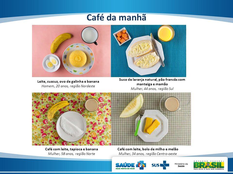 Café da manhã Suco de laranja natural, pão francês com manteiga e mamão. Mulher, 44 anos, região Sul.