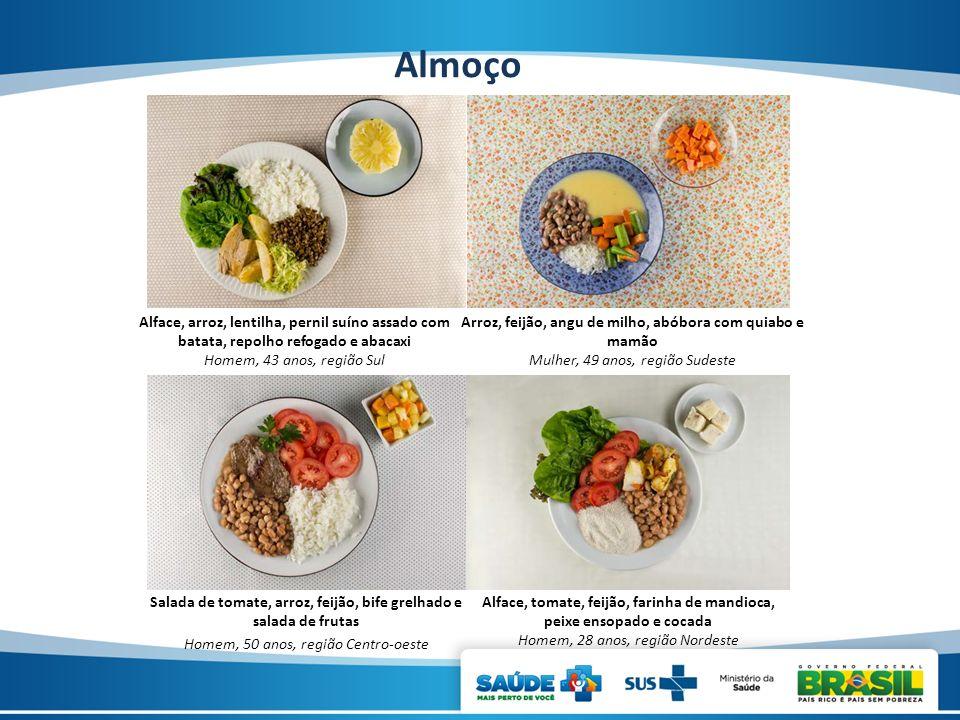 Almoço Alface, arroz, lentilha, pernil suíno assado com batata, repolho refogado e abacaxi. Homem, 43 anos, região Sul.