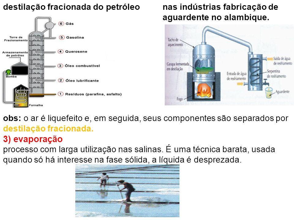 3) evaporação destilação fracionada do petróleo