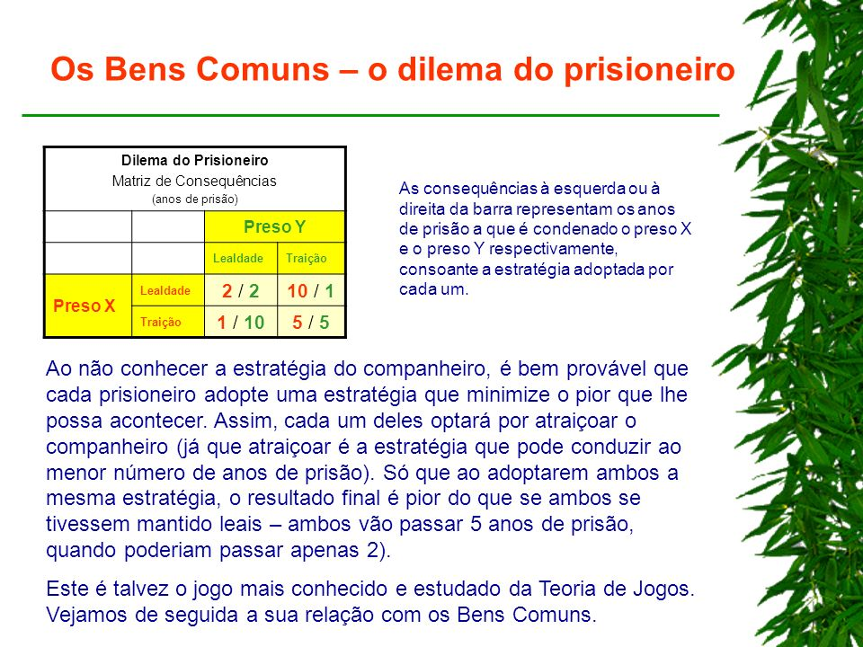 Os Bens Comuns – o dilema do prisioneiro