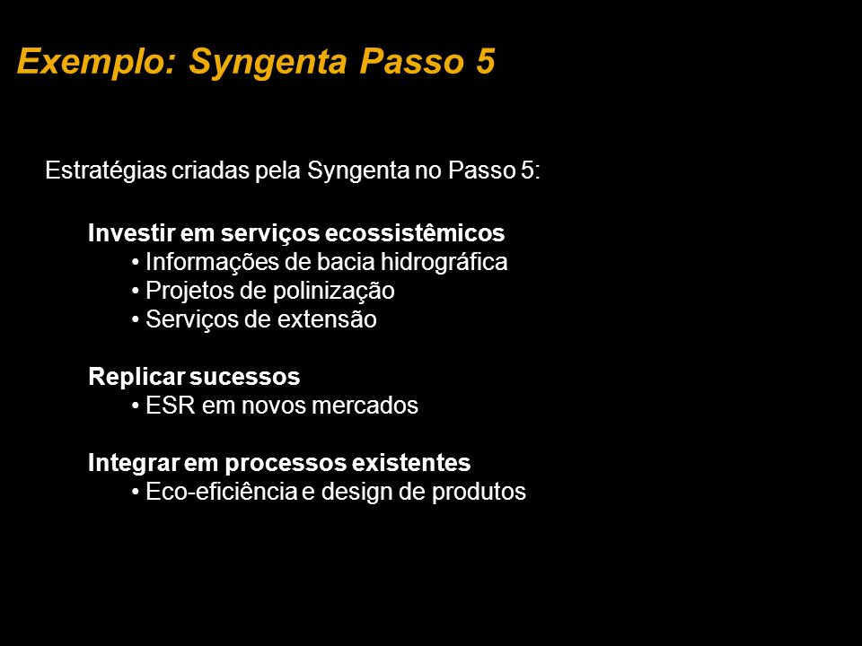 Exemplo: Syngenta Passo 5