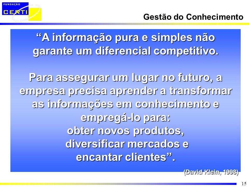 A informação pura e simples não garante um diferencial competitivo.