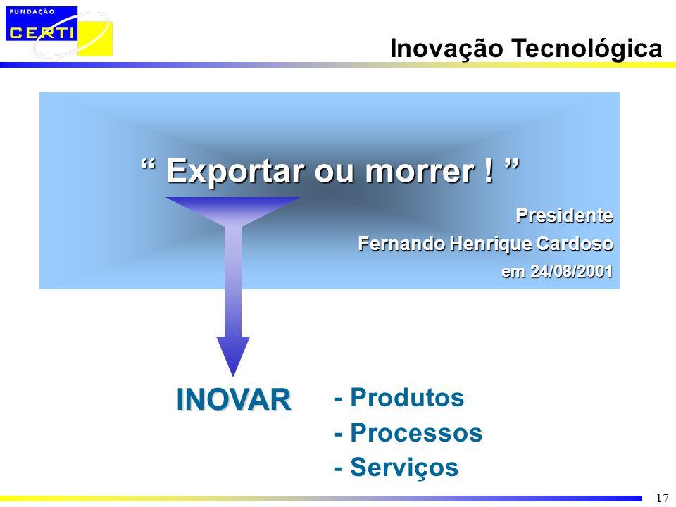 Exportar ou morrer ! INOVAR Inovação Tecnológica - Produtos