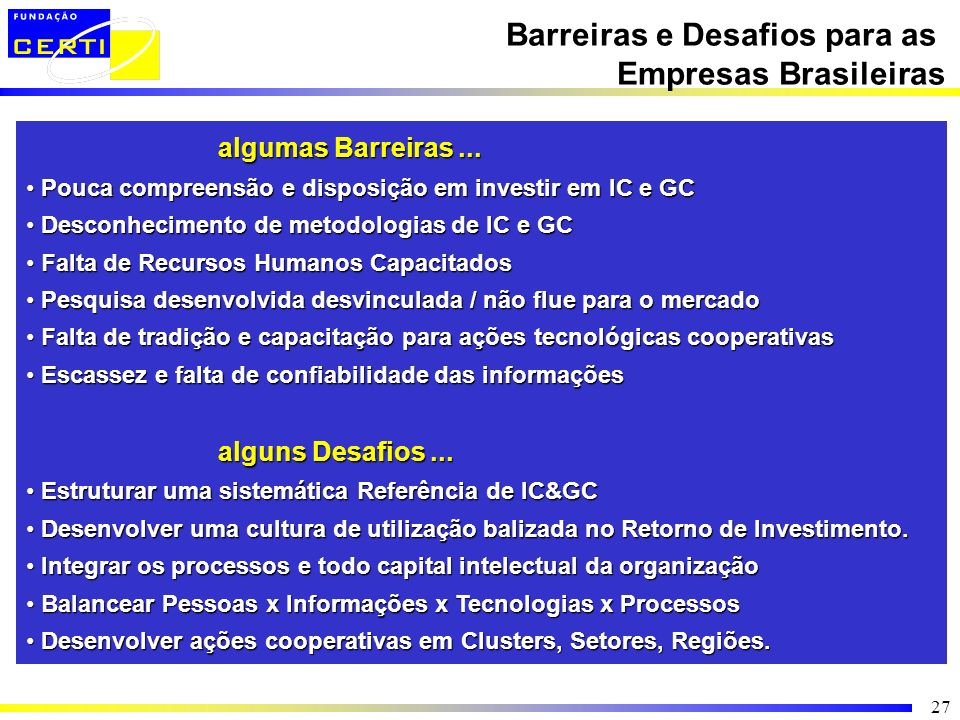 Barreiras e Desafios para as Empresas Brasileiras
