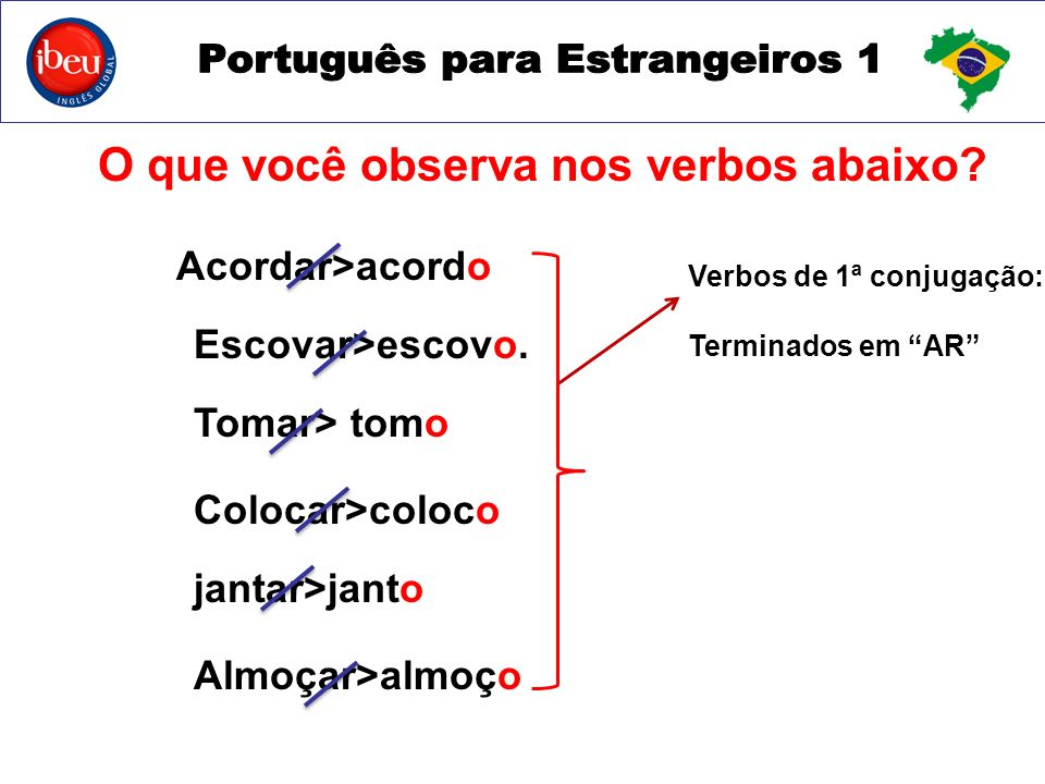 O que você observa nos verbos abaixo
