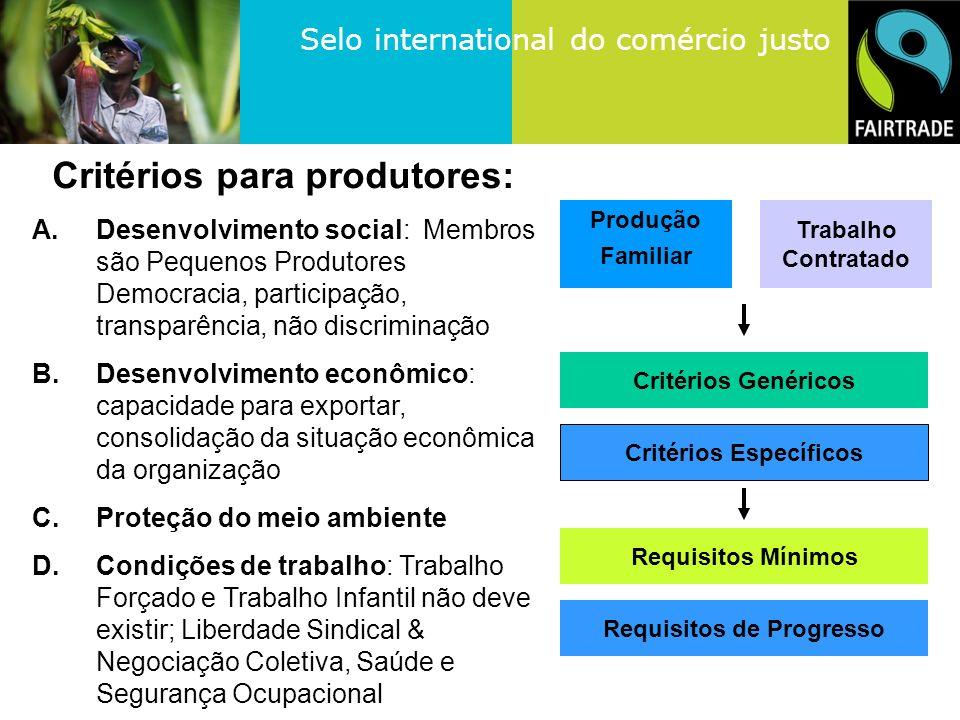 Critérios para produtores: