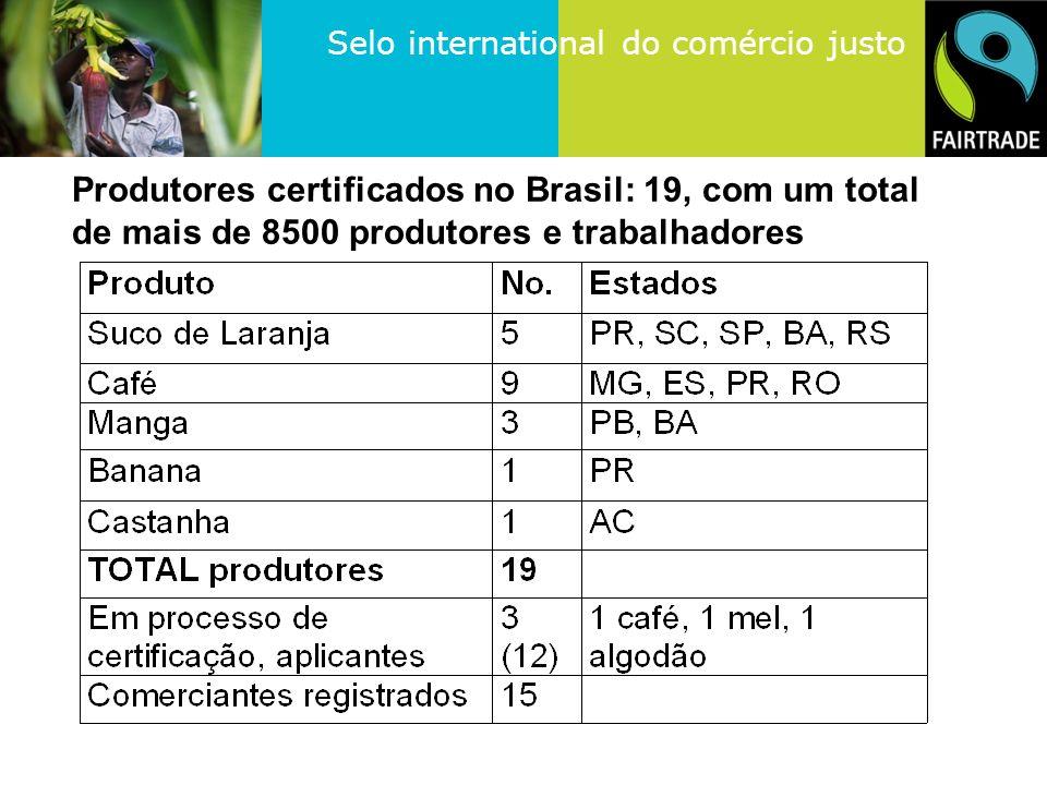 Produtores certificados no Brasil: 19, com um total de mais de 8500 produtores e trabalhadores