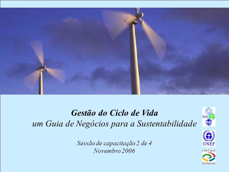 Gestão do Ciclo de Vida um Guia de Negócios para a Sustentabilidade Sessão de capacitação 2 de 4 Novembro 2006