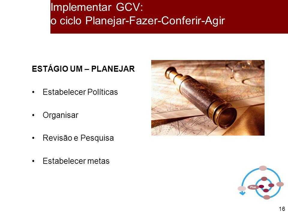 Implementar GCV: o ciclo Planejar-Fazer-Conferir-Agir