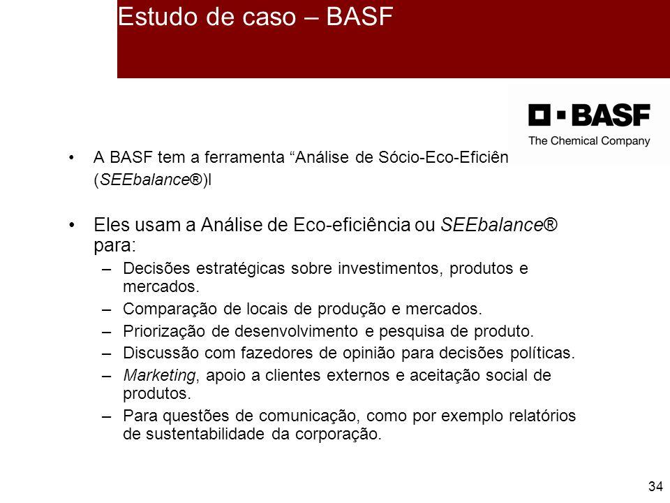 Estudo de caso – BASF A BASF tem a ferramenta Análise de Sócio-Eco-Eficiência (SEEbalance®)l.