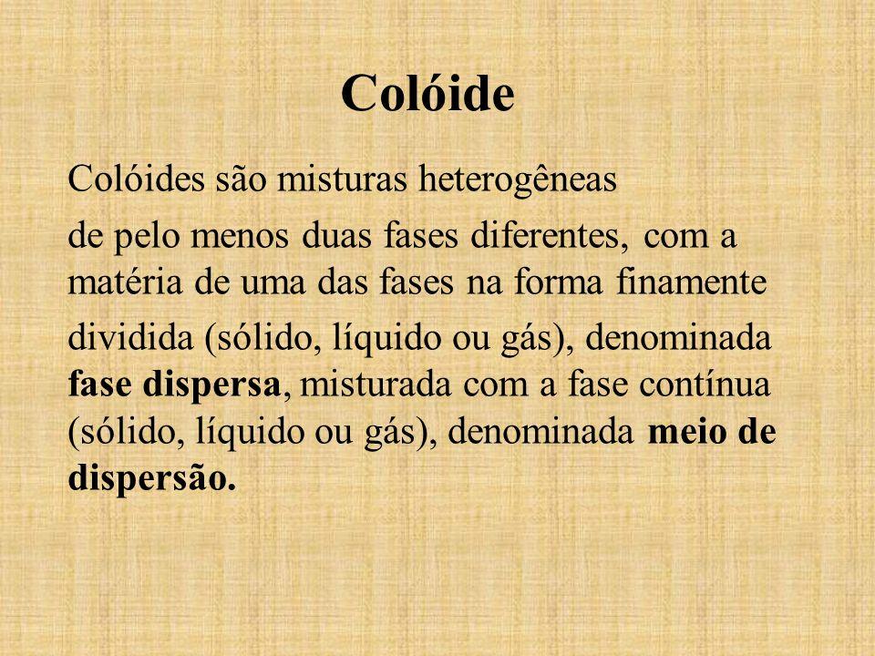 Colóide Colóides são misturas heterogêneas