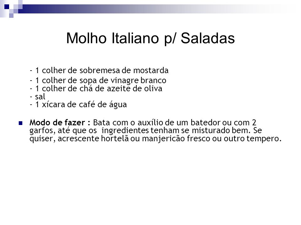 Molho Italiano p/ Saladas