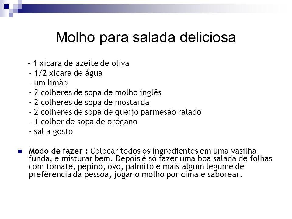 Molho para salada deliciosa